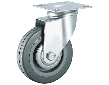 Gray Rubber Caster Swivel Top Plate